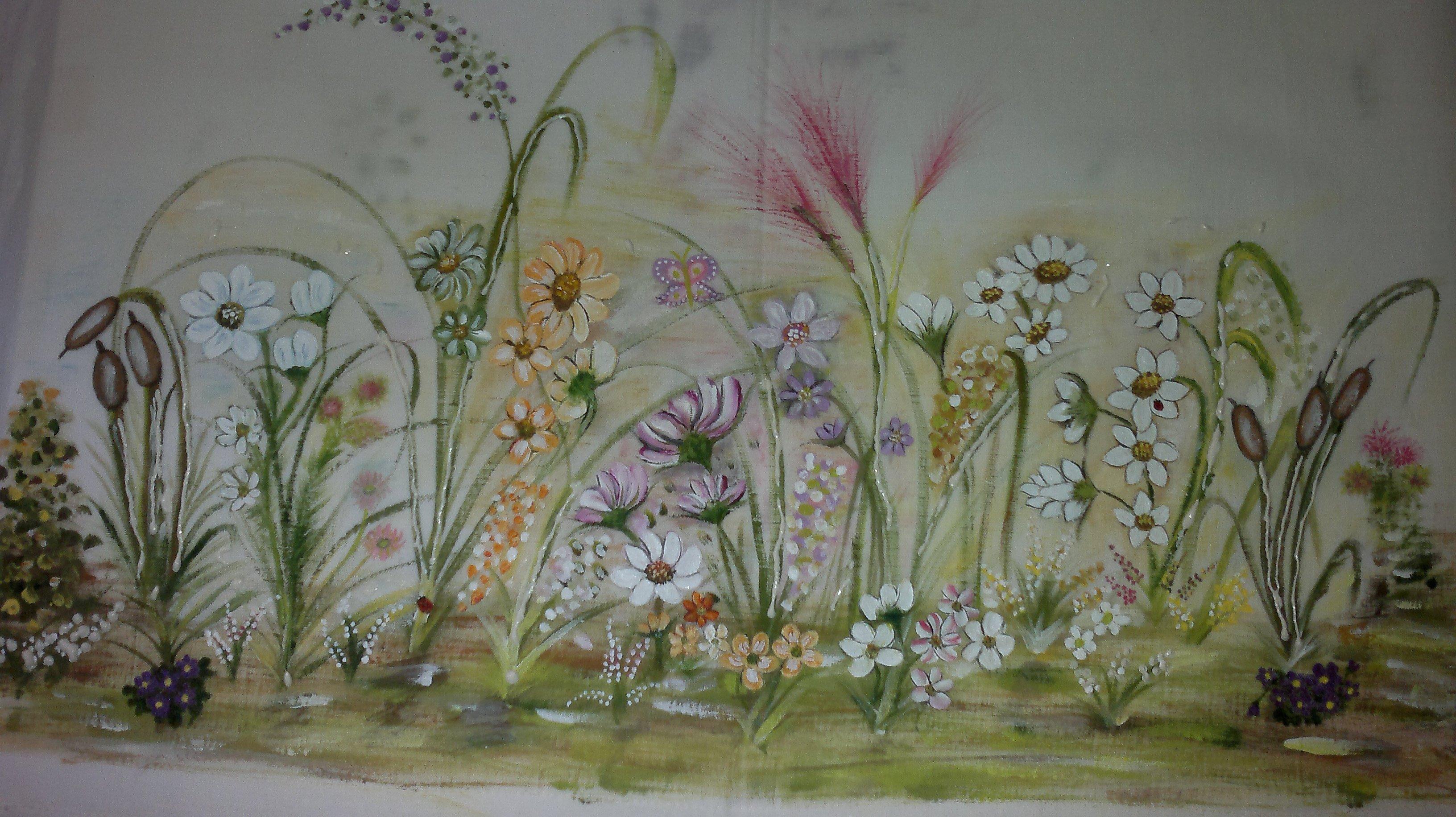 Cortinas de flores pintadas a mano cosas nicas concha for Cortinas de cocina hechas