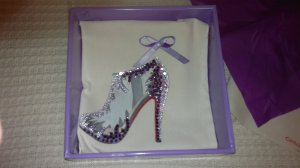 Bolsa para zapatos con cristales lilas