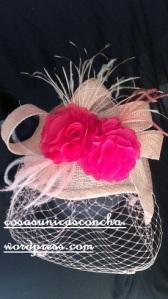 Re. 039 Tocado Rosa fresa y rosa palo, Carolina