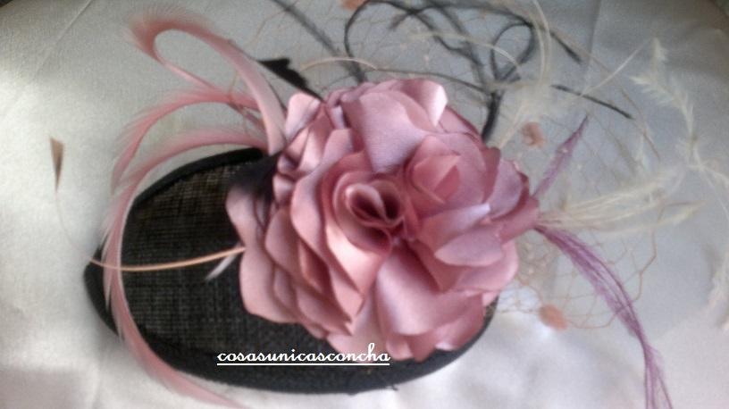 Tocado flor rosa palo