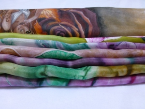 Re. 008 Grupo de pañuelos de seda, pintados a mano