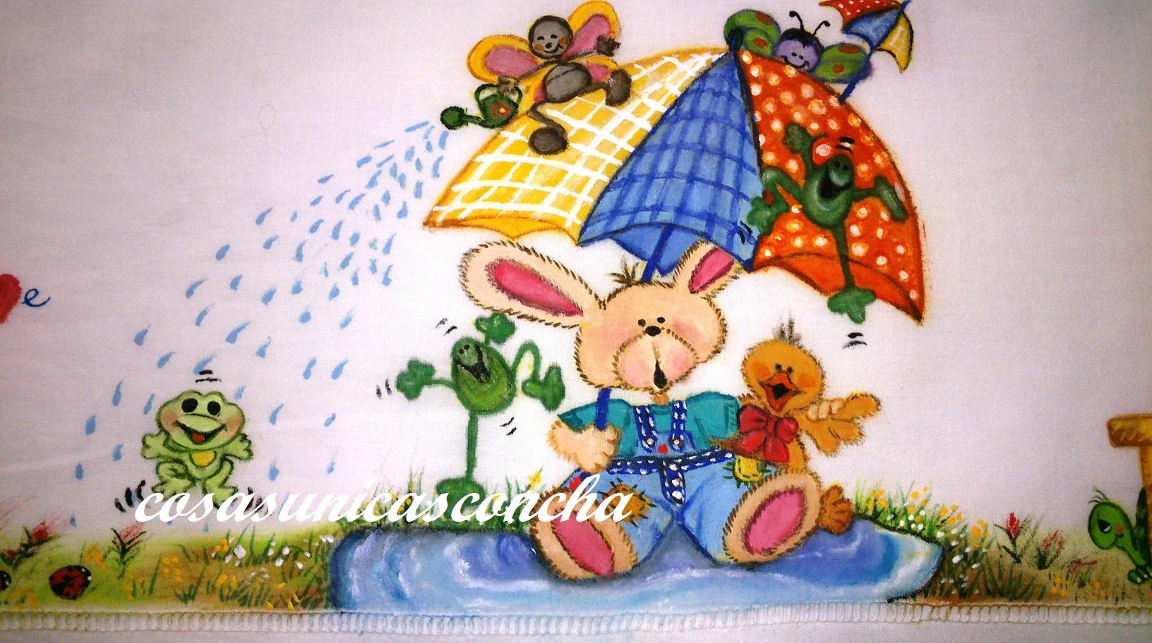 Sabana pintada a mano y personalizada cosas nicas concha - Pintura en tela motivos navidenos ...