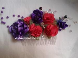 R. 001 Peineta con rosas detela