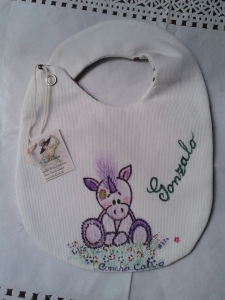 Re. 019 Babero doble y reversible Unicornio bebe