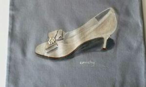 Zapato de novia pintado pintado sobre tela