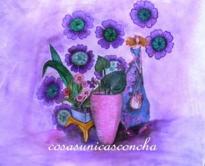 Cortina pintada en lino con pinturas para seda