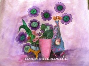 Cortina de lino pintada a mano