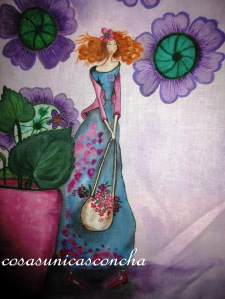 Detalle de la cortina pintada en lino