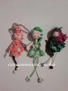 R.000Muñeca de broche y mini muñecas colgante
