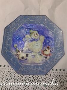 Plato decorado con servilleta y craquelado