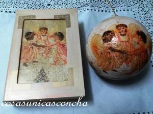 Caja libro y bola para el Árbol, haciendo juego  con el decorado de servilleta