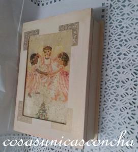 Caja libro decorada con servilleta