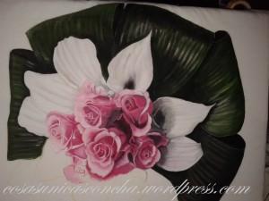 Detalles de la pintura sobre tela del ramo de novia