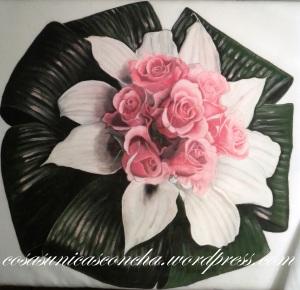 ramo de novia pintado en tela