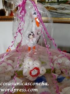 tarta de pañales con la cigüeña