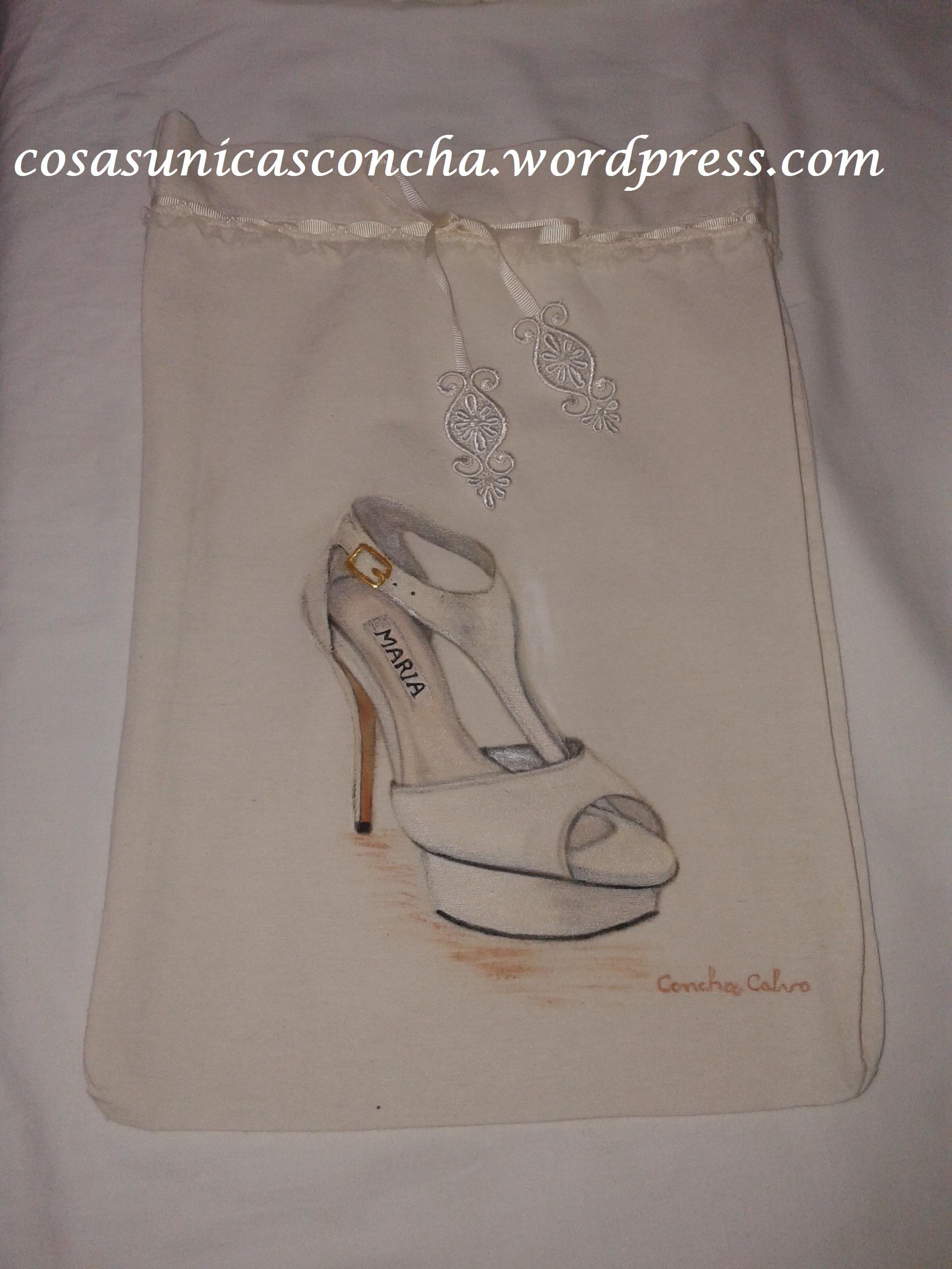 R. 065 Bolsa para guardar zapatos de novia y personalizada 536c7a953e9aa