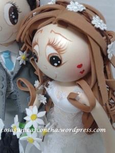 R. 246 Detallitos, ramo de novia con margaritas y cinta del pelo