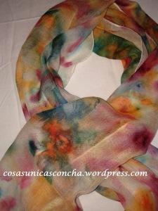 Fular de seda y lana , pintado a mano