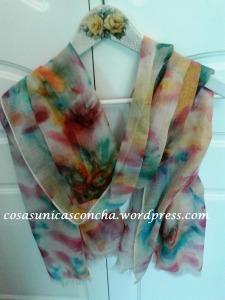 Fular de seda y lana, pintado a mano