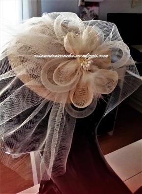 Tocado de novia, flor de Sinamay