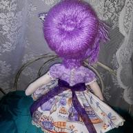 moño de la muñeca de trapo, preciosa, lila