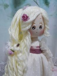 Muñeca de comunión de Trapo , Detalles peinado y ojos