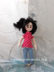 Muñeca de trapo, Princesa, con vaqueros y camiseta