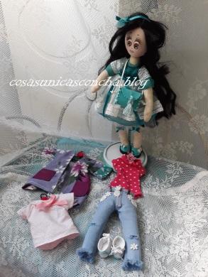Muñeca de trapo,Princesa, con toda la ropita