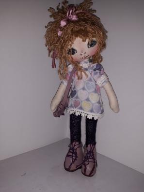 Muñeca de trapo, abrigo rosa