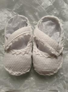 Patucos de tela de piqué hechos a mano y personalizados, para bautizo de un bebé